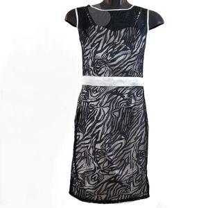 CELINE Dress Black White Mini Swirls Cocktail